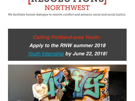 Apply Now for Resolutions Northwest Summer 2018 Youth Interships