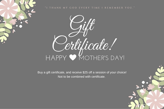 Mother's day gift certificates!