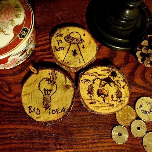 Assorted Light Stained Pine Magnets