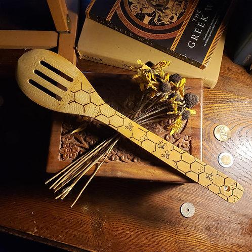 Honey Bee Bamboo Kitchen Spoon