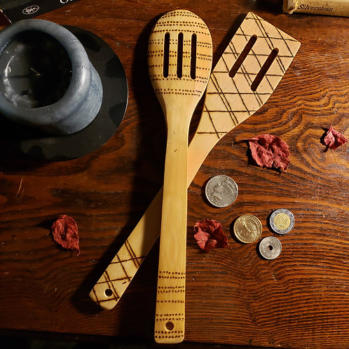 Patterned Bamboo Spoon and Spatula