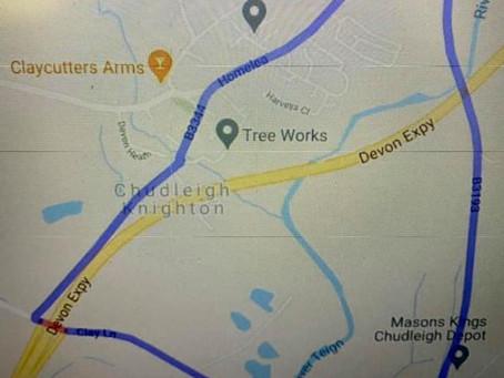 Road closure - Monday 15th March, bridge over A38 Clay Lane, Chudleigh Knighton