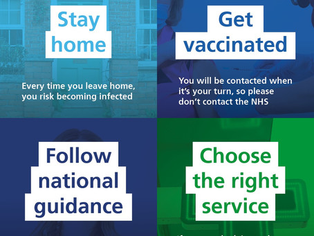 Stay Home, Get vaccinated, Follow national guidance, Choose the Right Service