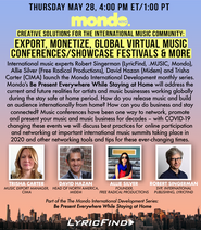 Mondo International Development Series Export, Monetize, Global Virtual Music Conferences & More
