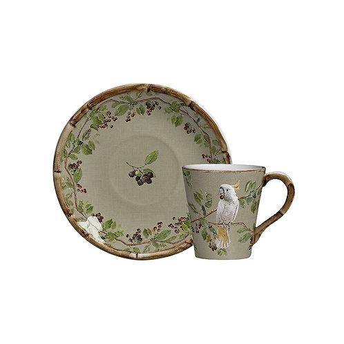Xícara de Chá c/p Cacatuas (6 Peças)