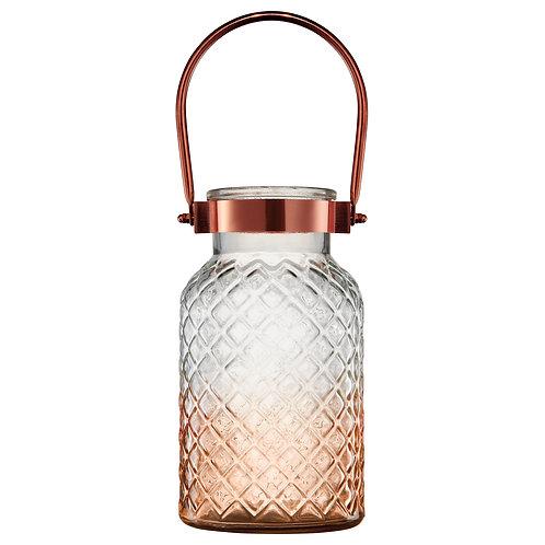 Lanterna decorativa em vidro e metal cobre REF 5796