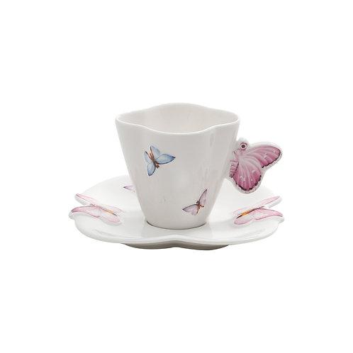 Xícara de Café c/p Borboleta (6 Peças)