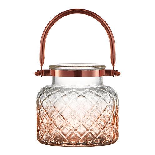 Lanterna decorativa em vidro e metal cobre REF 5798