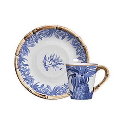 Xícara de Chá c/p Abacaxi Azul Royal (6 Peças)