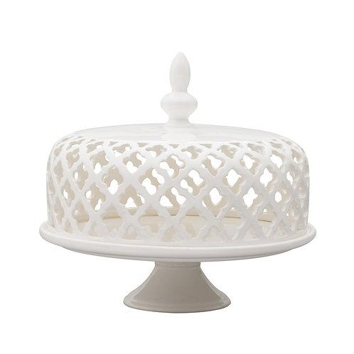 Prato de bolo de porcelana com tampa REF 8183