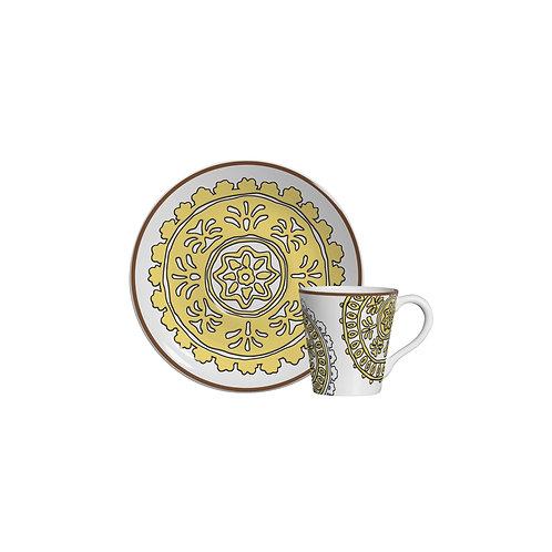 Xícara de Café c/p Hamptons Amarela (6 Peças)