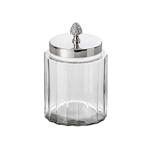 Pote vidro e latão niquelado REF 2075