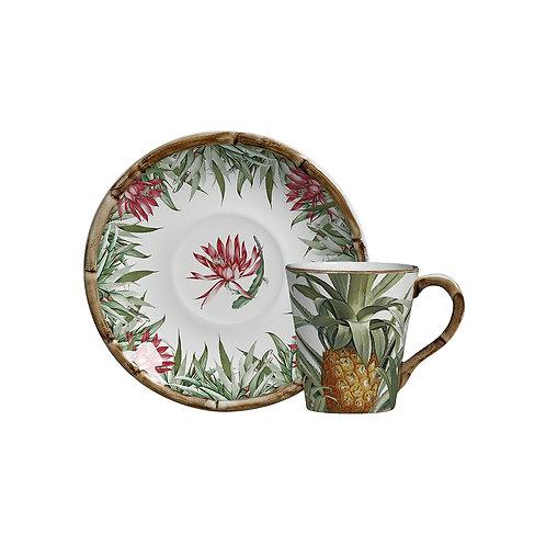 Xícara de Chá c/p Abacaxi (6 Peças)