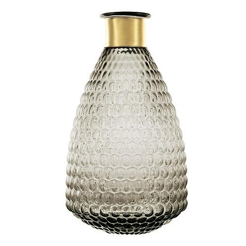 Vaso em vidro e metal dourado REF 5619