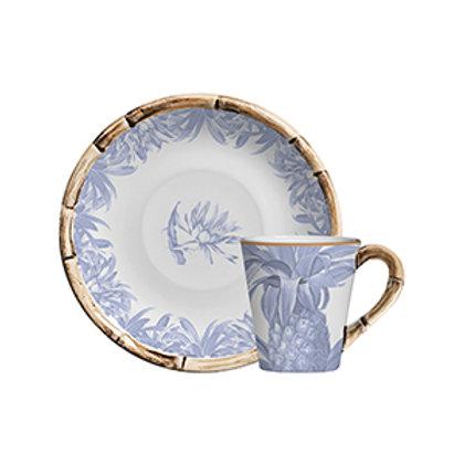 Xícara de Chá c/p Abacaxi Azul (6 Peças)