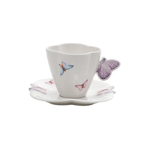 Xícara de Chá c/p - Borboleta (6 Peças)