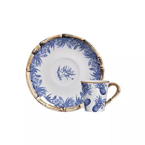 Xícara de Café Abacaxi Azul Royale (6 unidades)