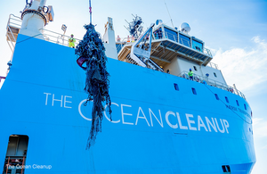 Image of the Ocean Cleanup foundation boat