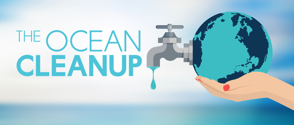 The Ocean Cleanup foundation logo next to an image of the world