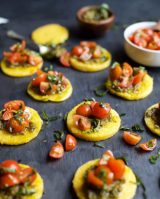 Pesto-Polenta-Bites-with-Tomato-Bruschet