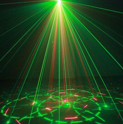 Lasers images on floor and walls