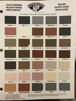 Credits for SuperStone and their color chart