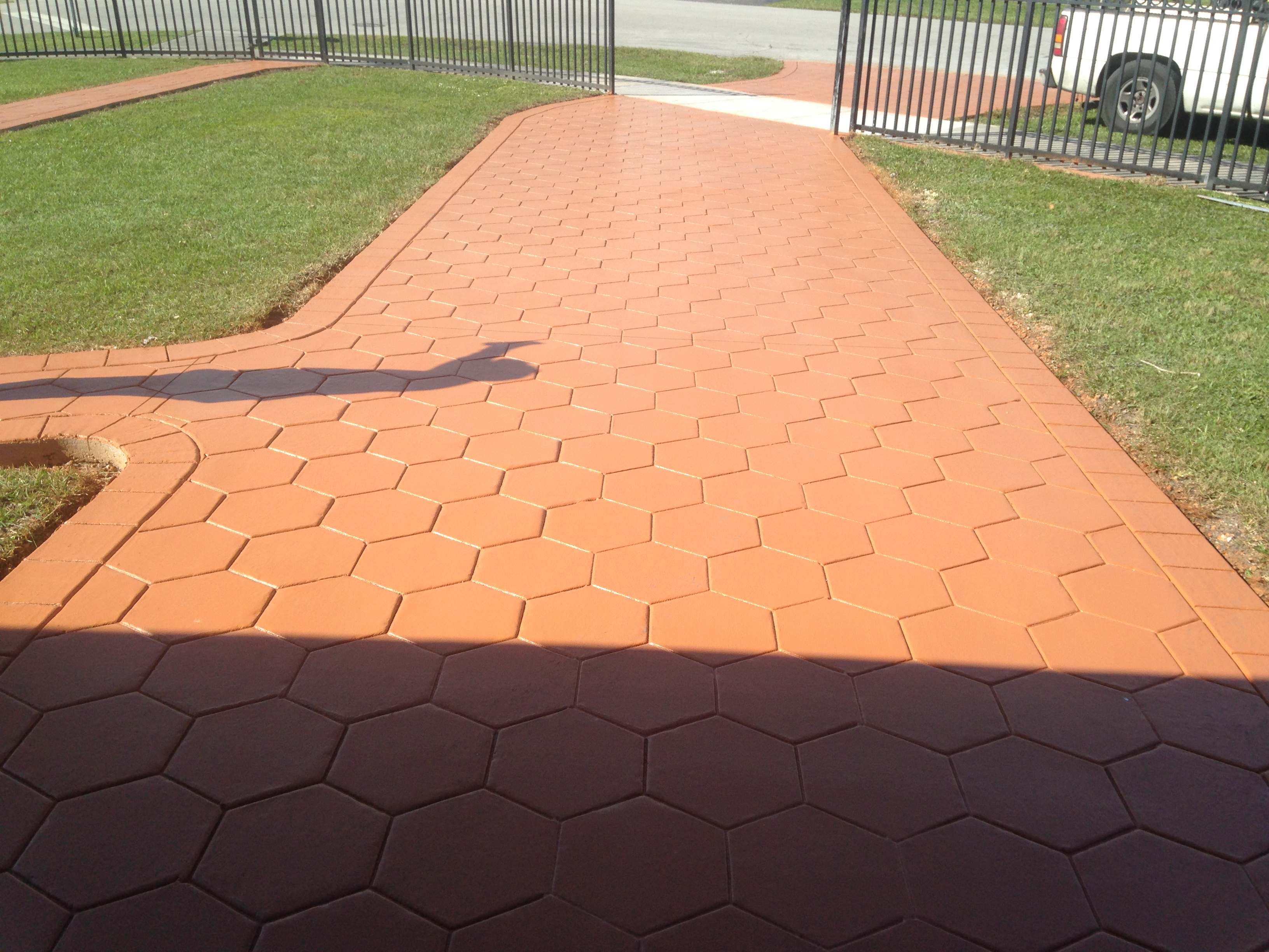 Hexagon Pattern (Stamp Concrete), Color:Terracota