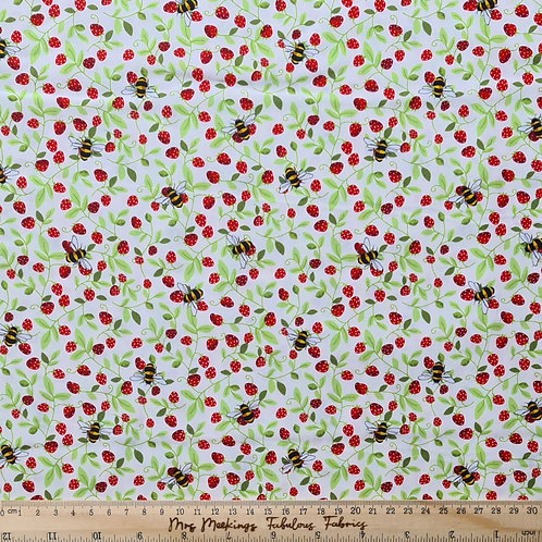 Bees & Strawberries 100% Cotton Poplin Per Half Metre