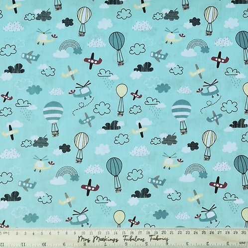 Planes and Hot Air Balloons 100% Cotton Poplin Per Half Metre