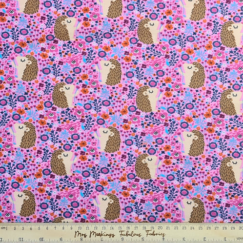 Hedgehog Floral Pink Cotton Jersey Per Half Metre