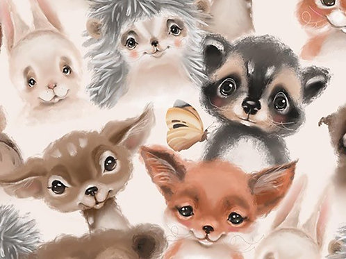 Watercolour Baby Animals Digitally Printed 100% Cotton Per Half Metre