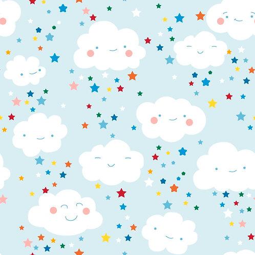 Happy Clouds & Stars 100% Cotton Per Half Metre