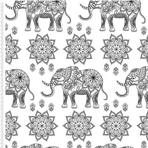 Mandala Elephant Print 100%Cotton Per Half Metre