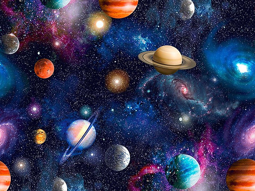 Little Johnny Blue Space Universe 100% Cotton Fabric Per Half Metre