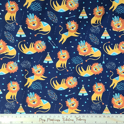Sleepy Lions Navy Cotton Jersey Per Half Metre