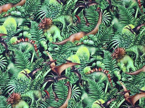 Little Johnny Jungle Dinosaur Jersey Cotton Stretch Fabric Per Half Metre