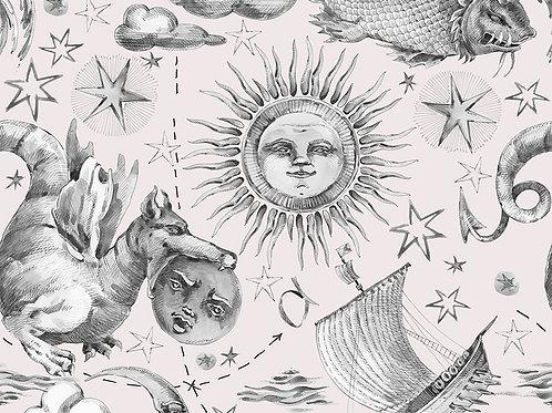 Nautical Retro Sun Stars and Moon Watercolour 100% Cotton Per Half Metre