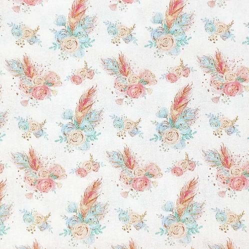 Vintage Feather Rose Floral 100% Cotton Per Half Metre