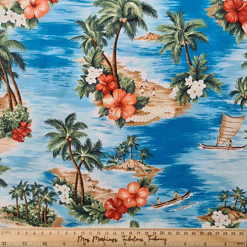 You're Sew Cool Hawaiian Print 100% Cotton Poplin Per Half Metre
