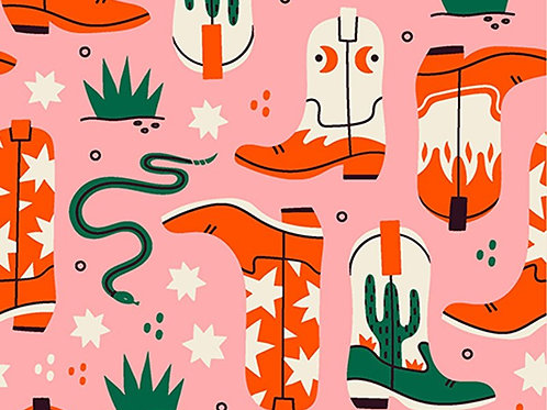 Yee-Haw 100% Cotton Fabric Cowboy Boot Print Per Half Metre