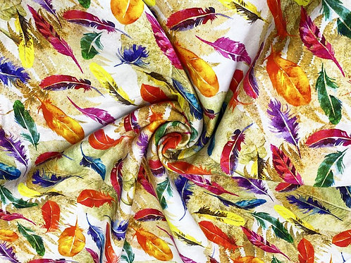Little Johnny Feather Jersey Cotton Stretch Fabric Per Half Metre