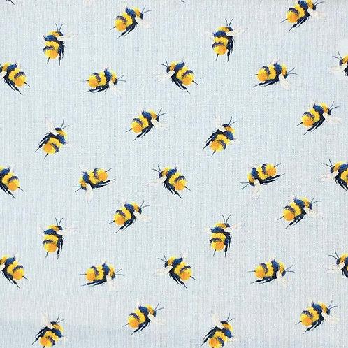 Buzzy Bees Sky Blue 100% Cotton Per Half Metre