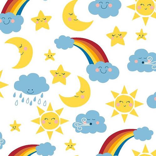 Happy Skies- Rainclouds and Rainbows 100% Cotton Per Half Metre