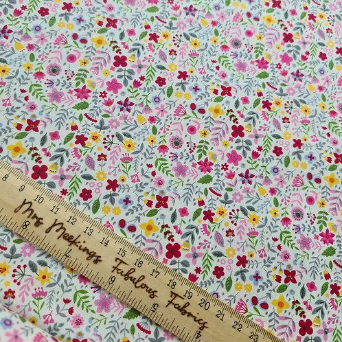Pretty in Pink Floral 100% Cotton Poplin Per Half Metre