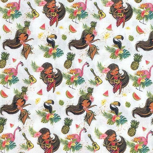Hula Girl Tropical 100% Cotton per half metre