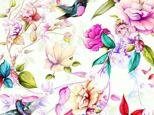Magnolia Flowers 100% Cotton Per Half Metre