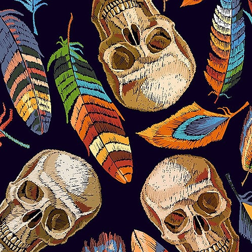 Little Johnny Skulls & Feathers 100% Cotton Fabric Per Half Metre