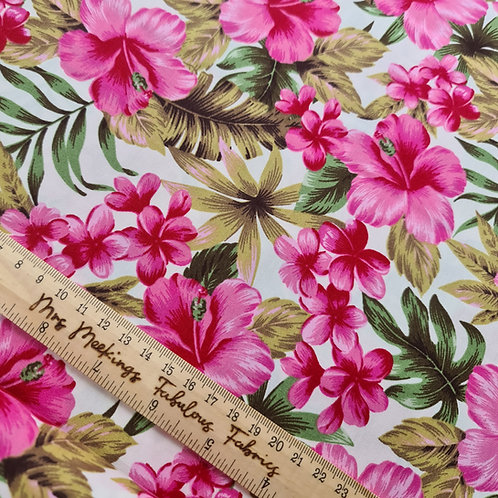 Pink & Blue Hawaiian Print Flowers 100% Cotton Poplin Per Half Metre