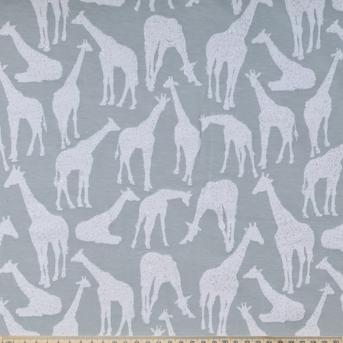 Beautiful Glitter Effect Giraffe Jersey Grey Per Half Metre