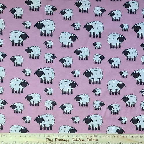Cute Sheep Pink Cotton Jersey Per Half Metre